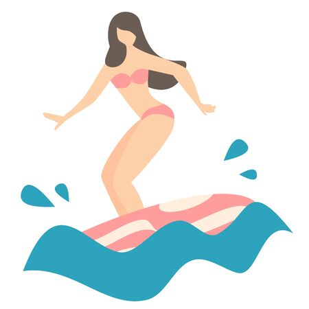 cute cartoon flat girl with surfboard riding a wave vector illustration