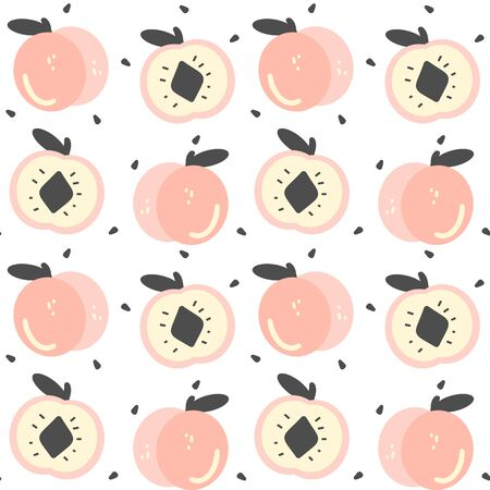 cute hand drawn peaches seamless vector pattern background illustration