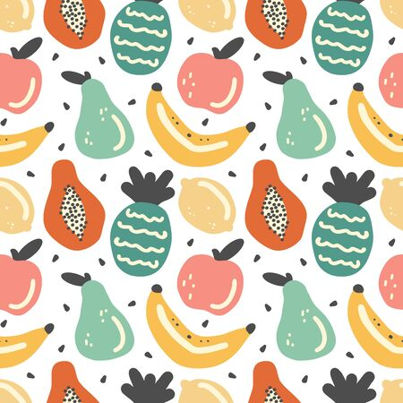 cute seamless vector pattern background illustration with hand drawn fruits
