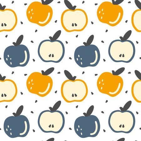 cute colorful hand drawn fresh apples seamless vector pattern background illustration Иллюстрация