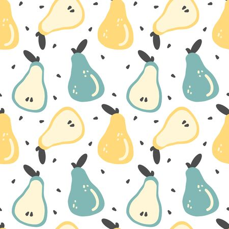 cute colorful hand drawn fresh pears seamless vector pattern background illustration
