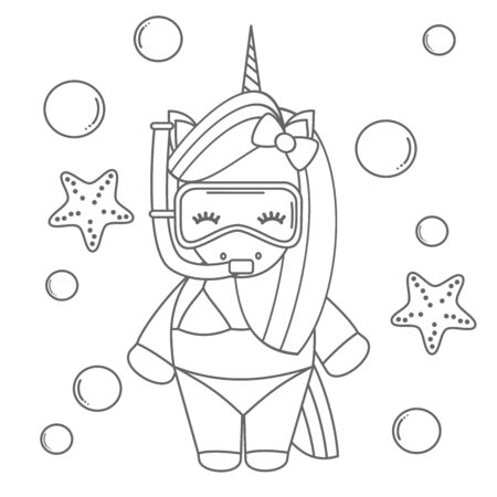 cute cartoon little black and white summer snorkeling with diving mask funny cartoon vector illustration for coloring art  イラスト・ベクター素材