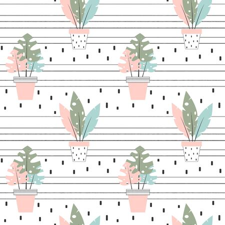 cute lovely seamless vector pattern background illustration with tropical house plants