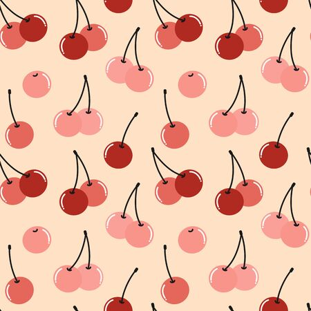 cute seamless vector pattern background illustration with cherries