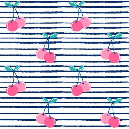 cute summer cherries seamless pattern vector illustration on blue and white striped background Stock Illustratie