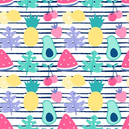 colorful summer seamless vector pattern background illustration with pineapples, avocados, strawberries, cherries, lemons, watermelons and exotic leaves Stock Illustratie