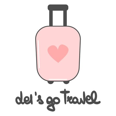 cute lovely vector let's go travel hand drawn lettering phrase with cartoon pink suitcase