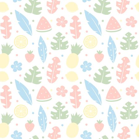 cute colorful tropical summer seamless vector pattern background illustration with hibiscus, tropical fruits and exotic leaf