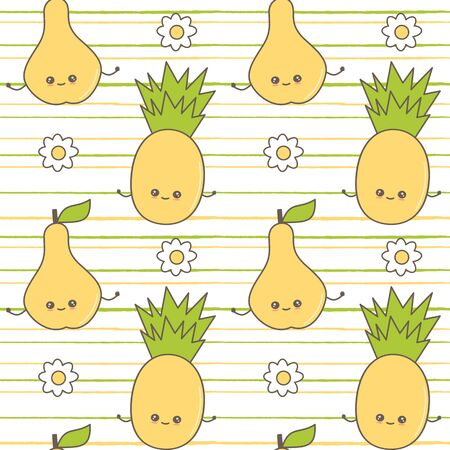 cute colorful cartoon seamless vector pattern background illustration with character pineapples and pears