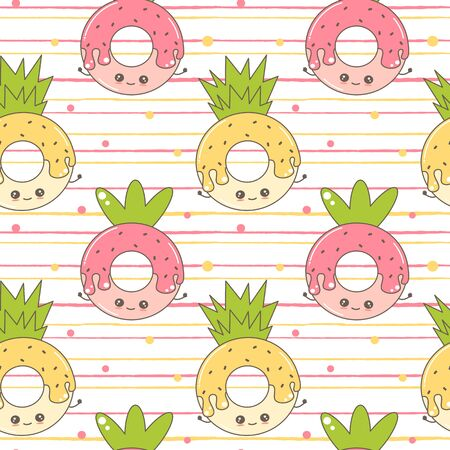 cute cartoon character strawberry donut and pineapple donut funny seamless vector pattern illustration on striped background  イラスト・ベクター素材