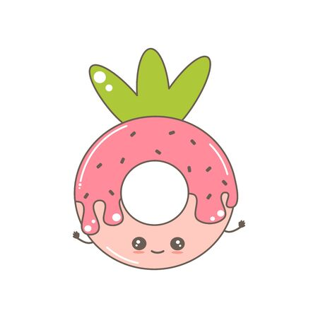 cute cartoon vector character donut strawberry funny illustration isolated on white background  イラスト・ベクター素材