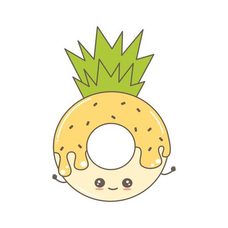 cute cartoon vector character donut pineapple funny illustration isolated on white background  イラスト・ベクター素材