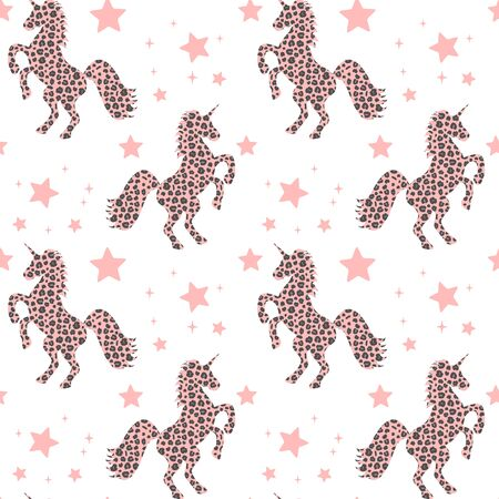 cute pink unicorn silhouette with animal print with leopard dots and stars seamless vector pattern background illustration