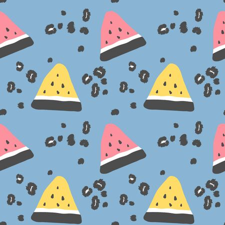 abstract modern seamless vector pattern background illustration with watermelon slice and animal print with leopard dots  イラスト・ベクター素材