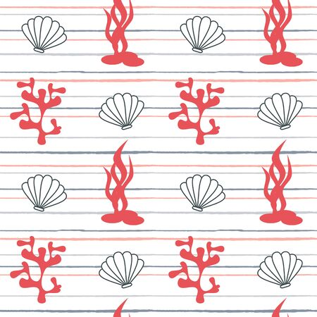 cute lovely cartoon summer marine striped seamless vector pattern background illustration with seashells and corals  イラスト・ベクター素材