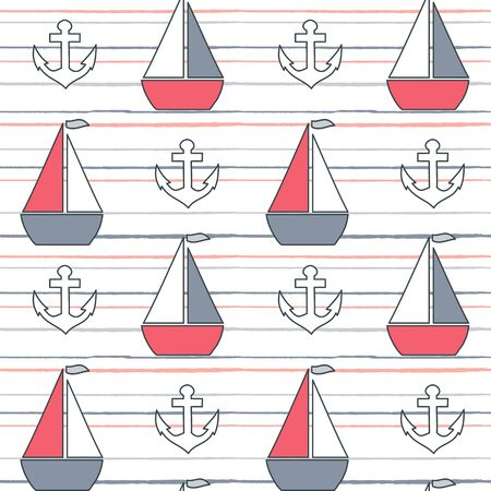 cute lovely cartoon summer marine striped seamless vector pattern background illustration with boats and anchors Ilustração