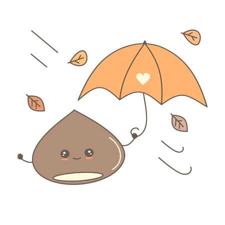 cute cartoon chestnut with umbrella in fall autumn day funny vector illustration