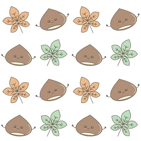 cute fall autumn seamless vector pattern background illustration with cartoon chestnut and leaves