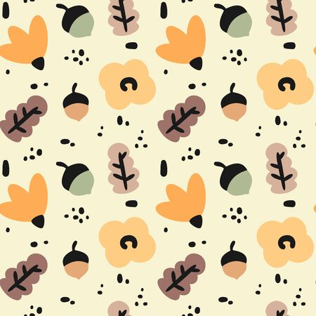 cute fall autumn seamless vector pattern background illustration with abstract elements, flowers, acorns and leaves