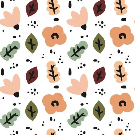 cute fall autumn seamless vector pattern background illustration with abstract elements, flowers and leaves