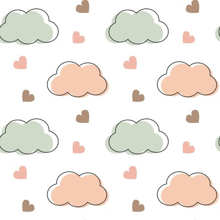 cute lovely romantic seamless vector pattern background with clouds and hearts