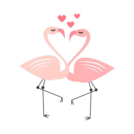 cute cartoon lovely flamingo couple in love vector illustration