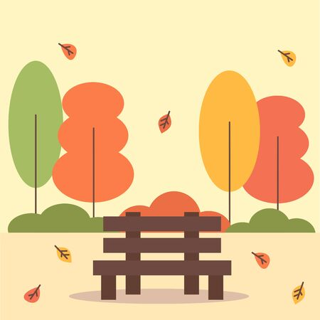 cute cartoon vector autumn city park with bench, trees and leaves  イラスト・ベクター素材