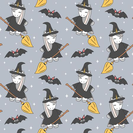 cute unicorn cartoon witch flying on broom and halloween bats seamless vector pattern background illustration