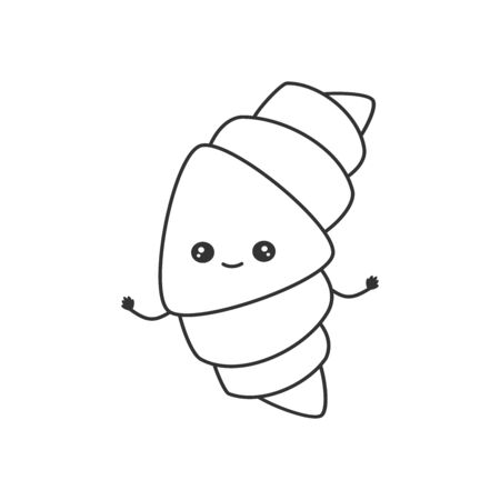 cute cartoon vector black and white character croissant illustration for coloring art  イラスト・ベクター素材