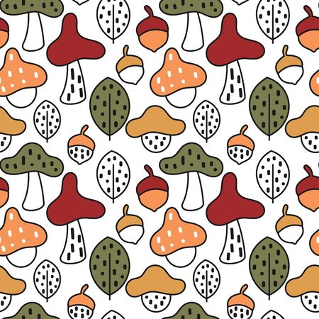 cute fall autumn seamless vector pattern background illustration with colorful mushrooms, acorns and leaves