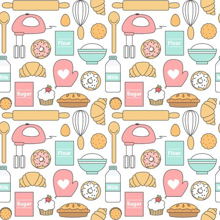 cute lovely seamless cartoon vector pattern background illustration with kitchen tools, donuts, cookies, cakes and baking ingredients