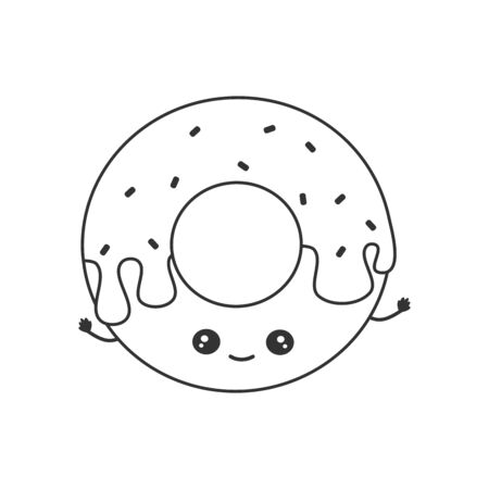 cute cartoon black and white vector illustration with donut character for coloring art