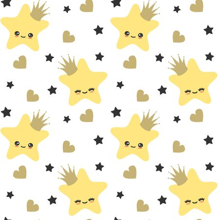 cute cartoon stars with crown seamless vector pattern background illustration for kids poster and baby room decor