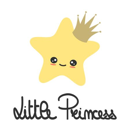 cute hand drawn lettering little princess slogan with cartoon star with crown vector illustration for kids poster and baby room decor
