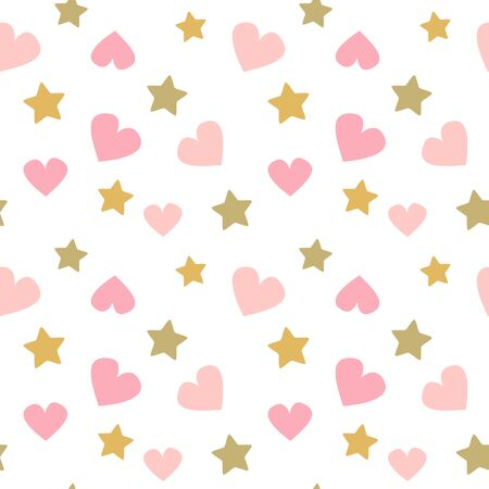 cute lovely seamless vector pattern background baby print illustration with doodle pink hearts and golden stars