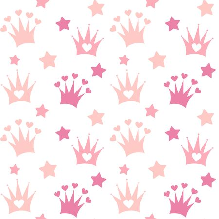 cute lovely seamless vector pattern baby background print illustration with doodle crown and stars