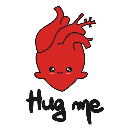 cute hand drawn lettering hug me quote with cartoon human heart vector illustration