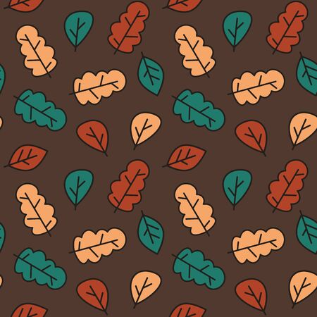 cute fall autumn seamless vector pattern background illustration with colorful leaves  イラスト・ベクター素材
