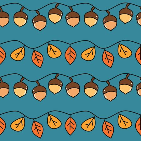 cute fall autumn seamless vector pattern background illustration with colorful acorns and leaves