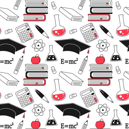 cute back to school seamless vector pattern background illustration with education elements
