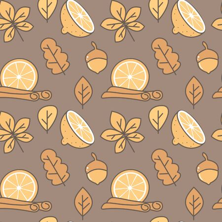 cute fall autumn seamless vector pattern background illustration with leaves, cinnamon, orange and lemon slice  イラスト・ベクター素材