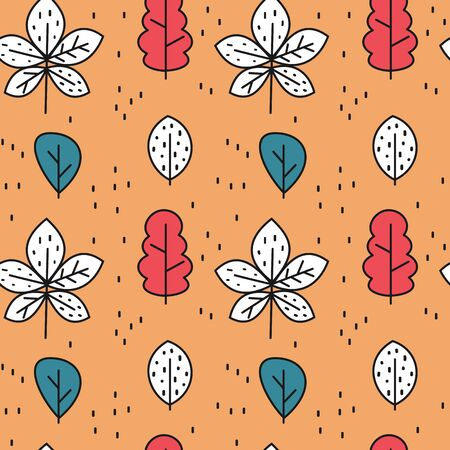 cute colorful fall autumn seamless vector pattern background illustration with leaves