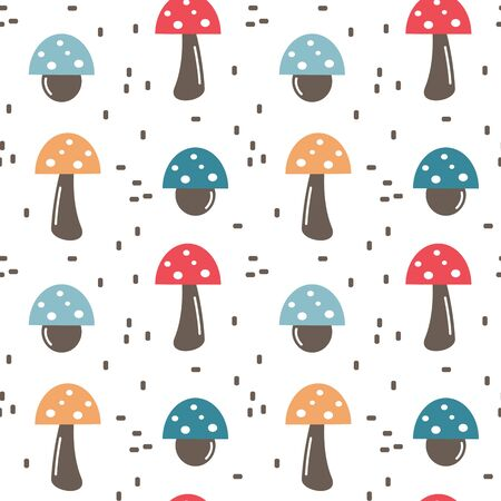 cute fall autumn seamless vector pattern background illustration with colorful mushrooms