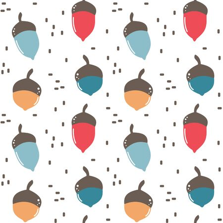 cute fall autumn seamless vector pattern background illustration with colorful acorns