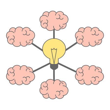 business concept vector illustration of human brain connected to a collective large idea