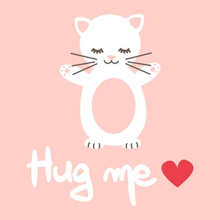 cute hand drawn lettering hug me quote with cartoon lovely white cat vector card  イラスト・ベクター素材