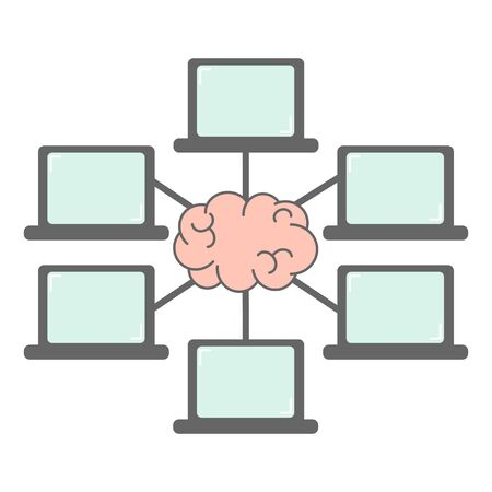 group of laptop connection and brain network communication and webinar concept vector illustration Vettoriali