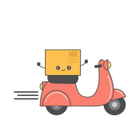 cute fast delivery business concept vector cartoon illustration with motorcycle and box scooter  イラスト・ベクター素材