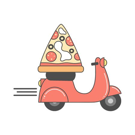 cute vector design for pizza delivery with motorcycle and pizza slice