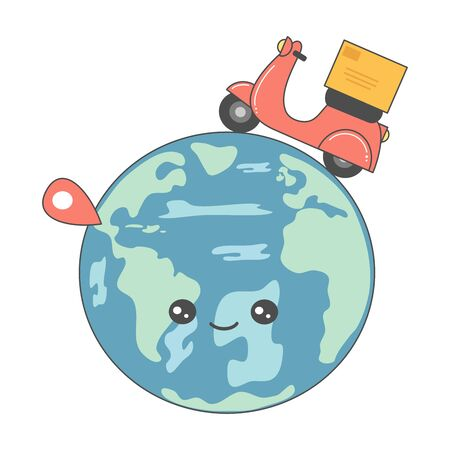 Cute cartoon vector delivery service concept with planet earth and motorcycle scooter with box